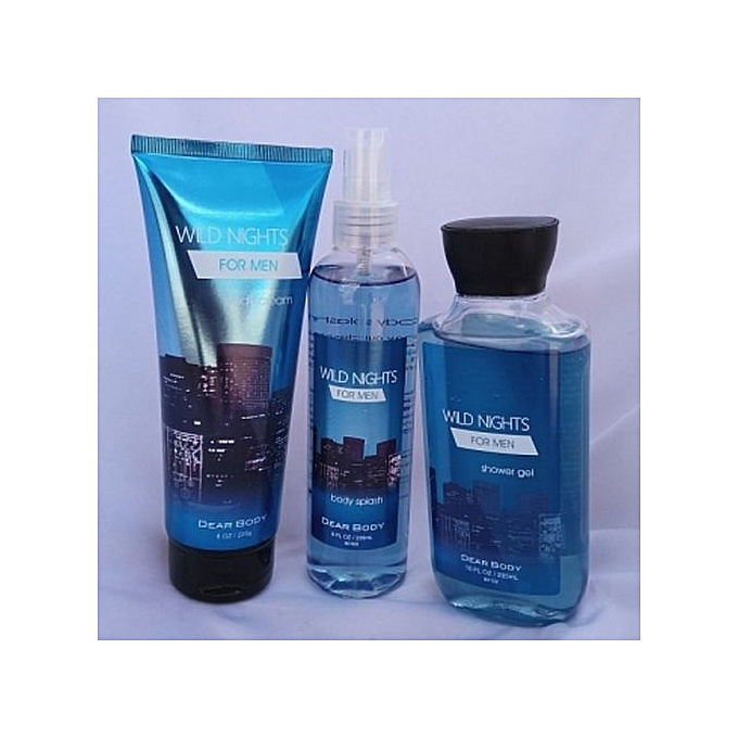 Dear Body Wild Night for Men 3-in-1 Set (Shower gel 295 ml, Body splash 236 ml and Body Cream 226 g)