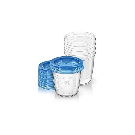 Philips Avent AVENT Breast Milk Storage Cups, 180 ml (Pack of 5) - Clear