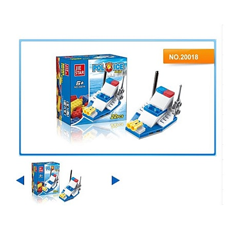 JIE STAR 22PCS Police Motorboat DIY Building Blocks Educational Brick Toys