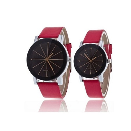 Two Ladies Quartz Watch Line Dial Leather Band - Red/Black.