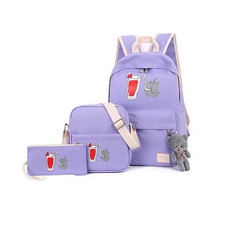 Fashion Backpack Girl Shoulder Bag Rucksack Canvas 3 Bags In 1 Set ( Purple)