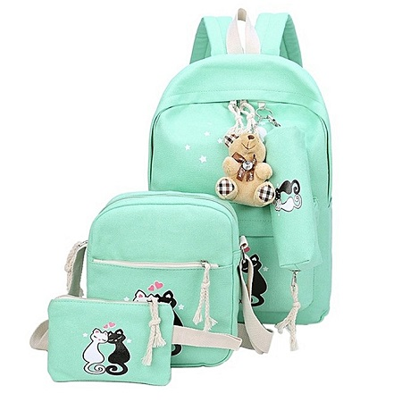 3 PCS Fashion Canvas Backpack Cat Prints School Bag Casual Multifunctional Travel Bag Backpack-Green