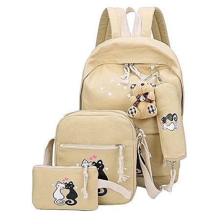 3 PCS Canvas Backpack Cat Print School Bag Casual Multifunctional Travel Bag Backpack -Khaki