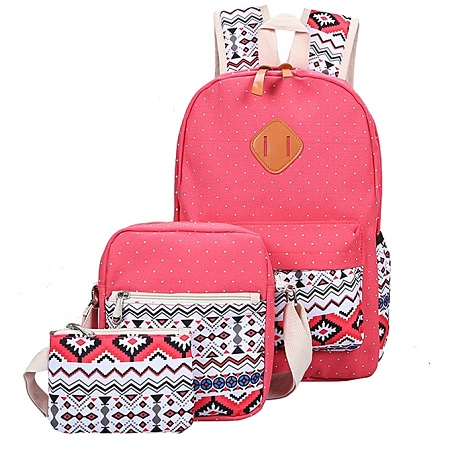 3 Piece Set School Backpack Red