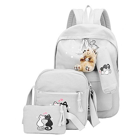 3 PCS Canvas Backpack Cat Prints School Bag Casual Multifunctional Travel Bag Backpack -Grey