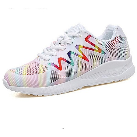 Air Mesh Lady Training Dance Shoes Light Weight Sport Shoes For Women (White)