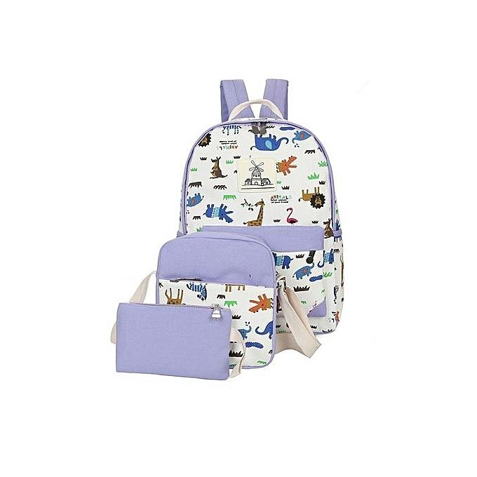 Animal PrintSchool bag, backpack,Leisure backpack 3 pcs in 1 set-Purple
