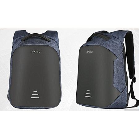 Men Anti-theft USB Charging Port Business Backpack -Blue