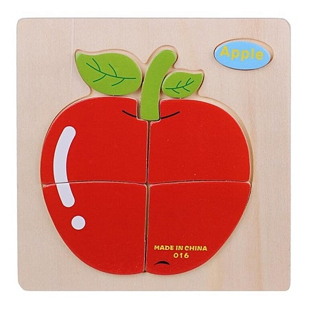 Candywood Wooden Cartoon Apple Shape Puzzle Kids Baby Educational Toy