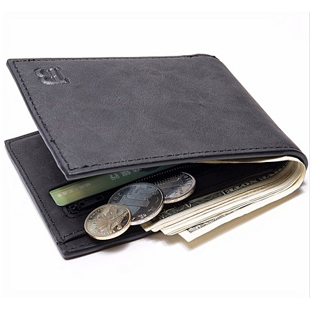 Baborry Men's Wallet Zipper Coin Bag-Black