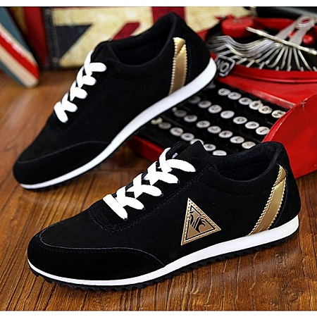 Black Rubber Shoes With White Sole.