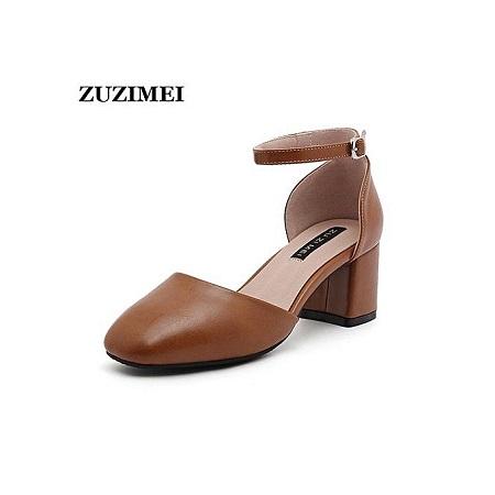 Fashion Women Sandals PU Summer Shoes Office Career Sandals Elegant Brand Shoes Sandalias Women Square Heels Shoes