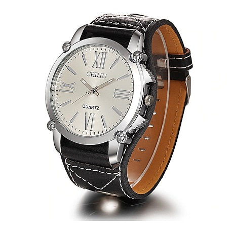 CRRJU CJ001 Fashion Men Women Quartz Watch Casual Roman Numerals Leather Strap Wrist Watch Black