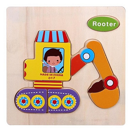 Candywood Wooden Cartoon Rooter Shape Puzzle Kids Baby Educational Toy