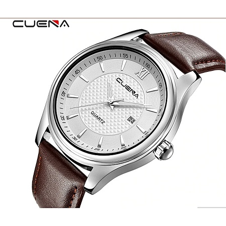 CUENA Blicool Casual Checkers Faux Leather Quartz Analog Wrist Watch-Brown