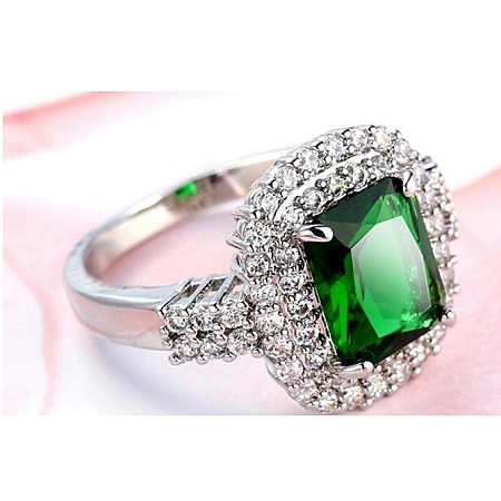 Princess Cut Emerald Jewelry Green CZ Women Ring Anel Aneis 10KT White Gold Filled White Zircon Ring