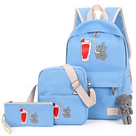 Fashion Backpack Girl Shoulder Bag Rucksack Canvas 3 Bags In 1 Set(Blue)