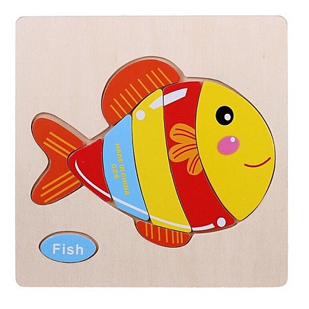 Candywood Wooden Cartoon Fish Shape Puzzle Kids Baby Educational Toy