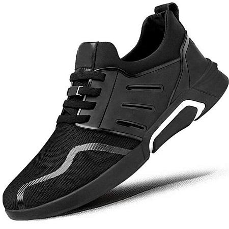 BLACK Men's Casual Shoes Sneakers Flats Gym Trainers Men Shoes Air Mesh Breathable Shoes
