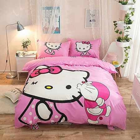 HELLO KITTY High Quality Queen Size Fitted Bedsheet Set