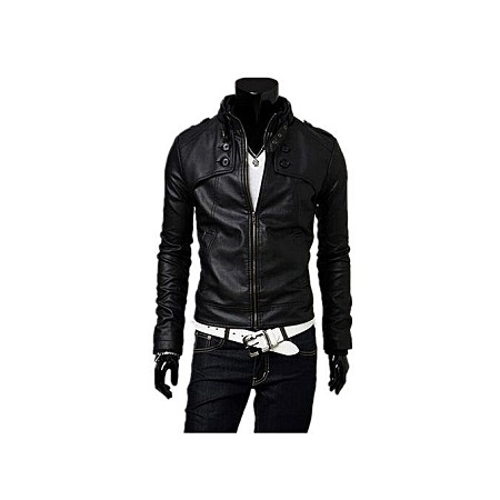 Men Standing Collar Motorcycle Leather slim Leather Jacket For Cool Man - Black