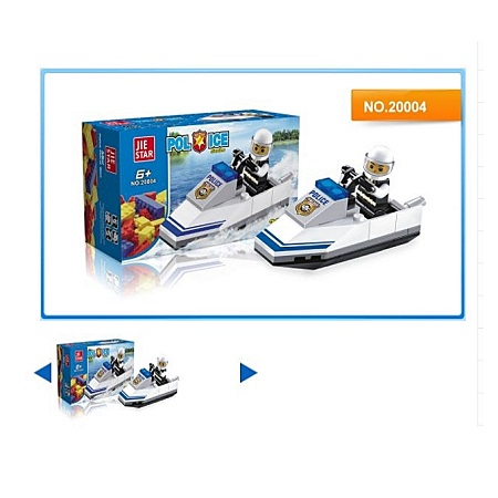 JIE STAR 38PCS Police Motorboat DIY Building Blocks Educational Brick Toys
