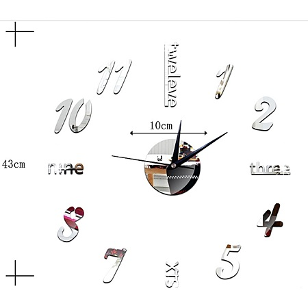 Creative Number Wall Clock Sticker-Silver
