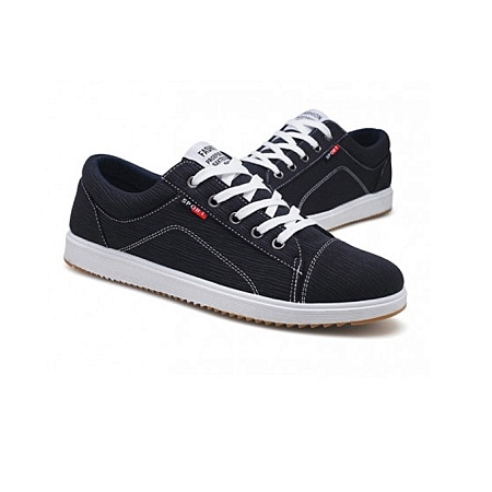 Navy Blue Rubber Shoes With White Sole.