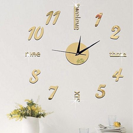Creative Number Wall Clock Sticker-Gold