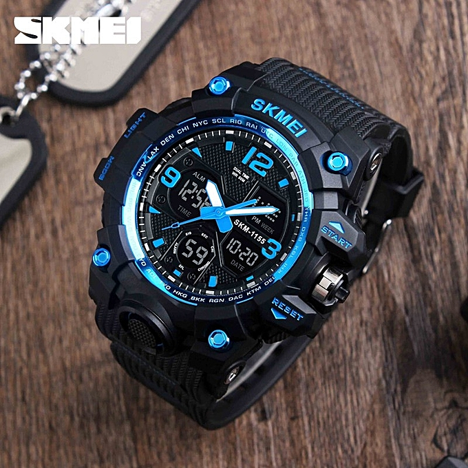 Outdoor Sports Watch, SKMEI1155 Waterproof And Shockproof Sports Electronic Watch By HonTai- Blue Black