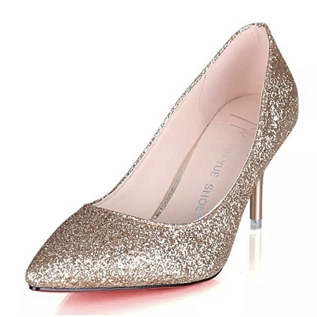 Fashion Sexy Party Club Rhinestones Super Pointed Office 7cm High Heels Shoes - GOLDEN.