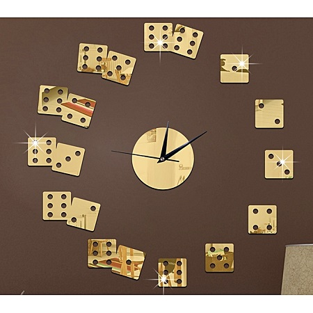 Creative Poker Wall Clock Sticker-Gold
