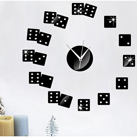 Creative Poker Wall Clock Sticker-Black