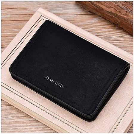 Men's Retro Buckle Multi-function Zipper wallet-Black