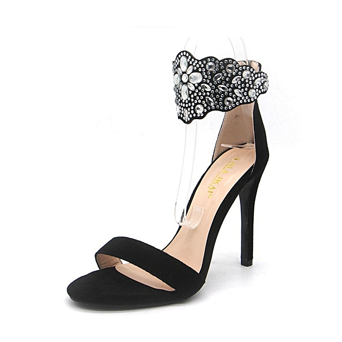 Roman high-heeled  fashionable shoes with rhinestones detail