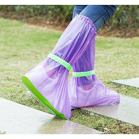 1 Pair Reusable Waterproof Rain Shoe Covers Anti-Slip Overshoes(L) Purple&Green