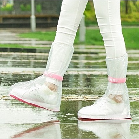 1 Pair Reusable Waterproof Rain Shoe Covers Anti-Slip Overshoes(L)Neutral