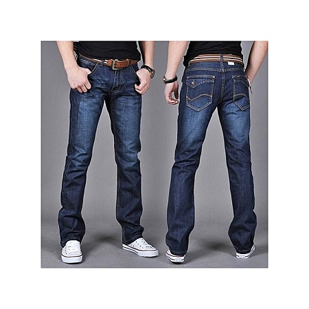 SAN VITALE Dark Blue New Skinny Mens Jeans Men Brand Fashion Male Casual Cotton Slim Straight Elasticity Pants Loose Waist Long Trousers Denim