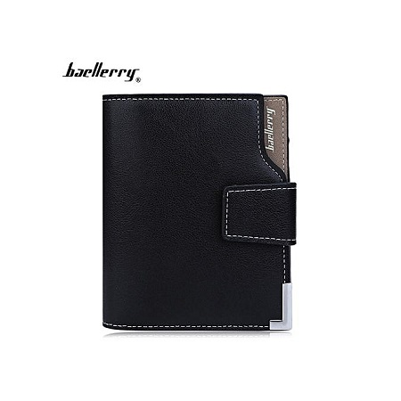 Men Solid Color Hardware Slice Letter Zipper Hasp Short Vertical Wallet