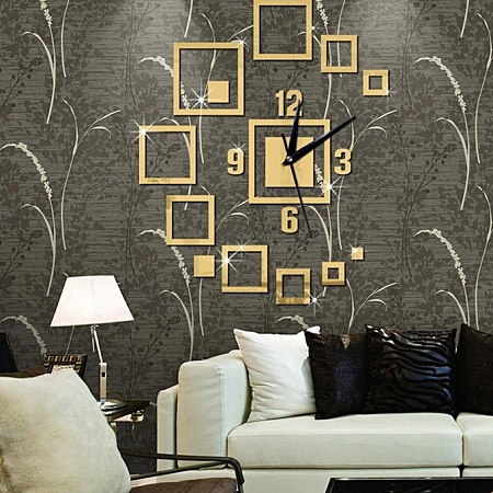 Creative Square Wall Clock Sticker-Gold