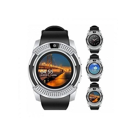 S006 Touch Screen Sports Round Screen Smart Phone Watch - Silver Black