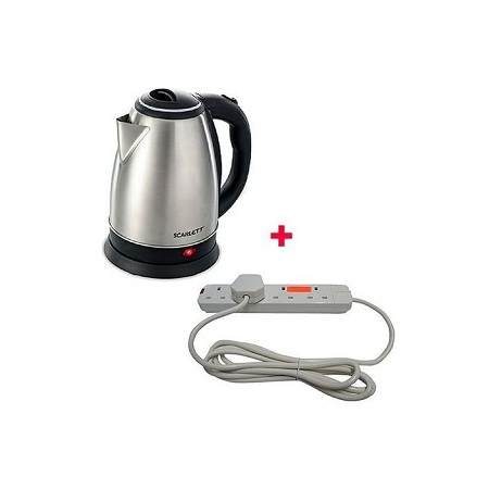 Scarlett Cordless Electric Kettle - 2Ltrs Silver With Free 4 way Red Lable Extension Cable