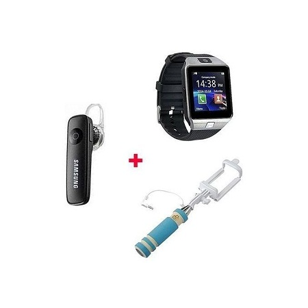 SmartWatch, Free Bluetooth headset and selfie stick-Silver