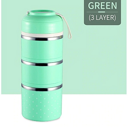 Thermal Lunch Box Stainless Steel Food Storage Container -Green