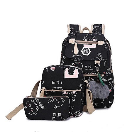 USB charger School bag, backpack,Leisure backpack 3 pcs in 1 set - Black