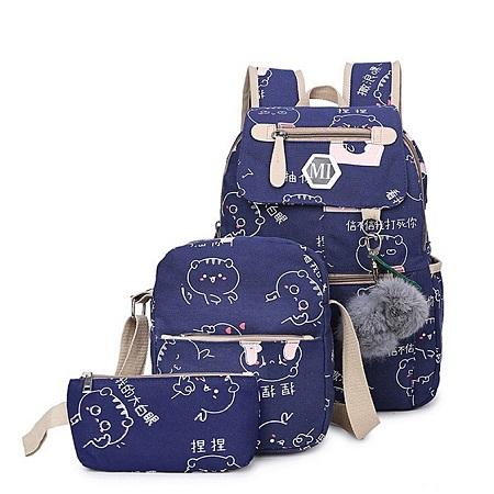 USB Charge School bag, backpack,Leisure backpack 3 pcs in 1 set- Blue