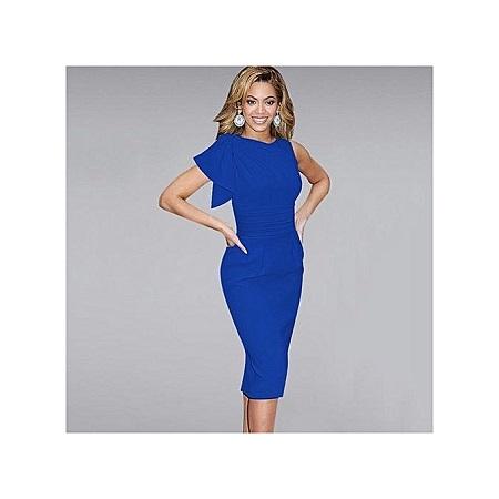 VEEKLE Ladies Vintage Elegant Short Straight Work Dresses Ruffle Cocktail Party Sleeveless -Blue