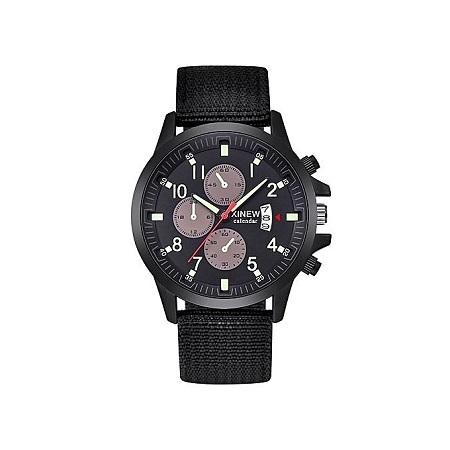 Xinew Men's Military Steel Military Date Quartz Analog  Wrist Watch-Black