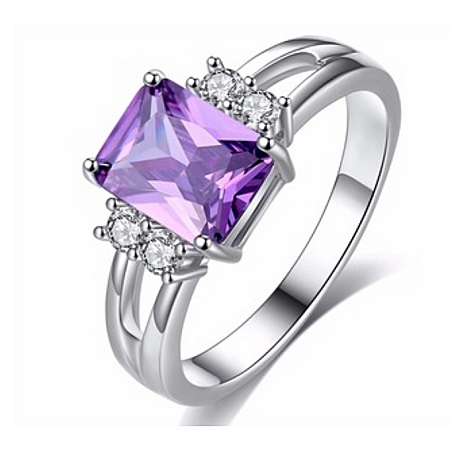 Square Ame Purple Diamond AAA Cubic Zirconia Engagement Ring