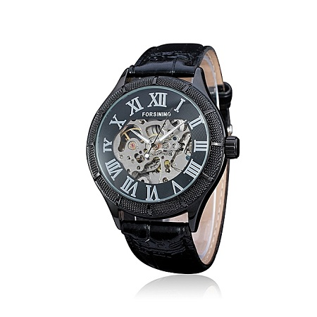 Forsining 566 Hollow Automatic Mechanical Leather Band Watch For Men Roman Scale.